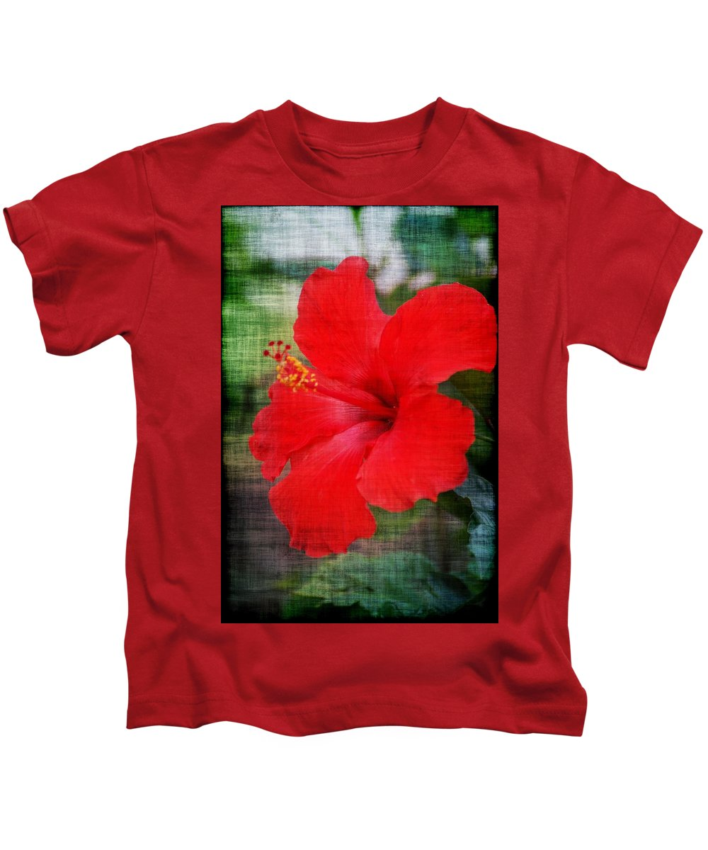 Flowers Kids T-Shirt featuring the photograph Red by Donna Bentley