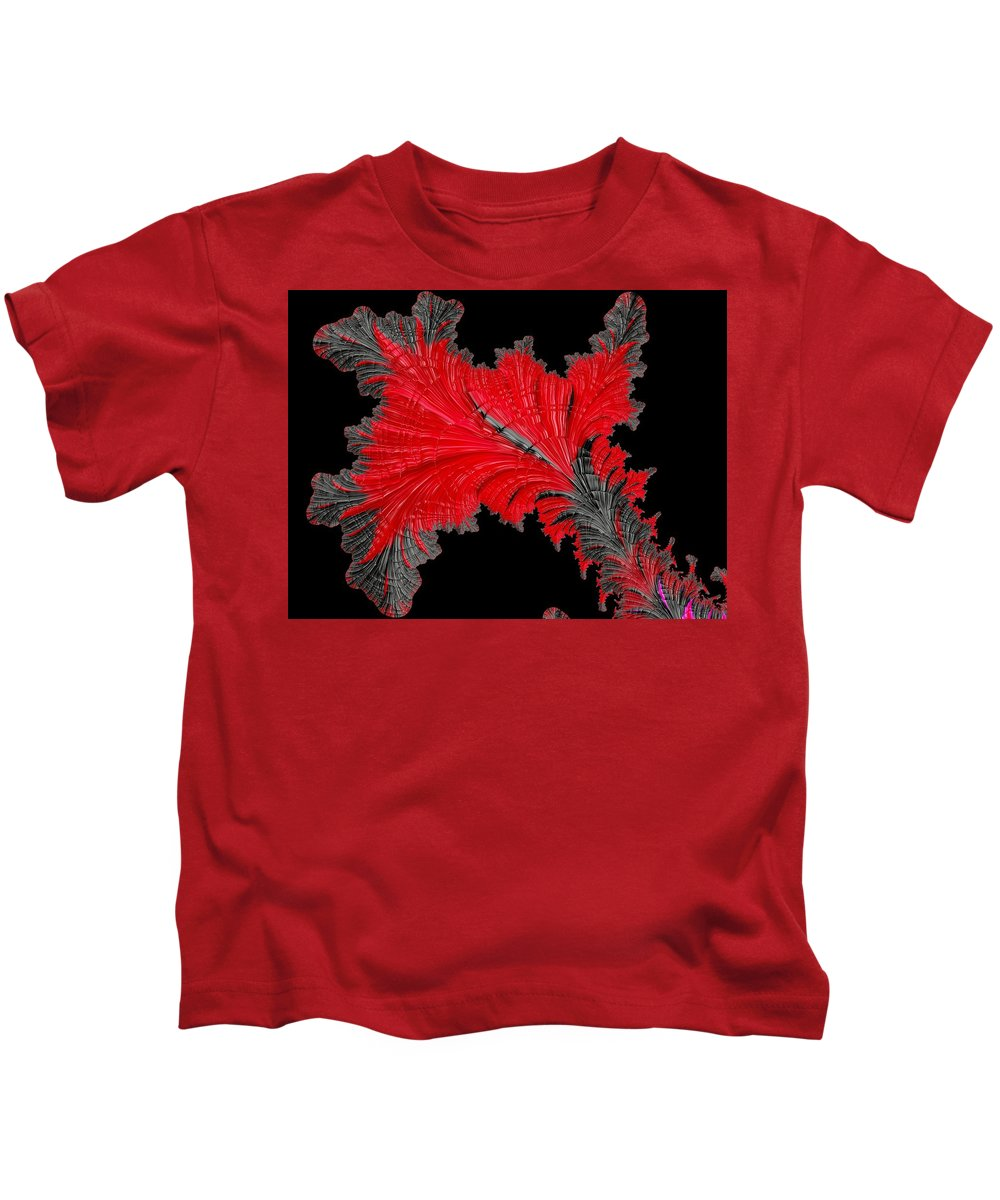 Abstract Kids T-Shirt featuring the photograph Red Feather - Abstract by Barbara Zahno