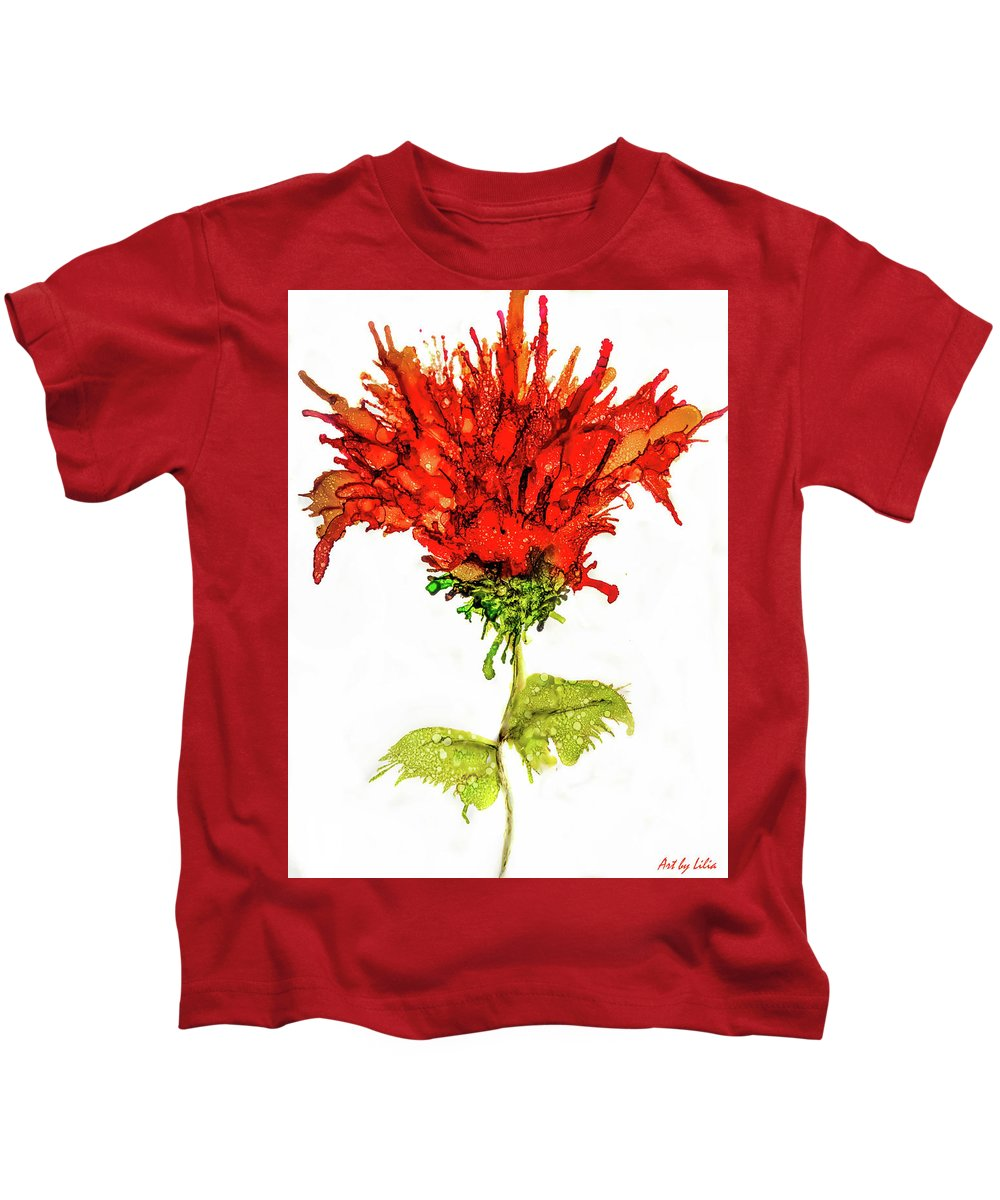 Red Flower Kids T-Shirt featuring the mixed media Red Flower 2 by Lilia D
