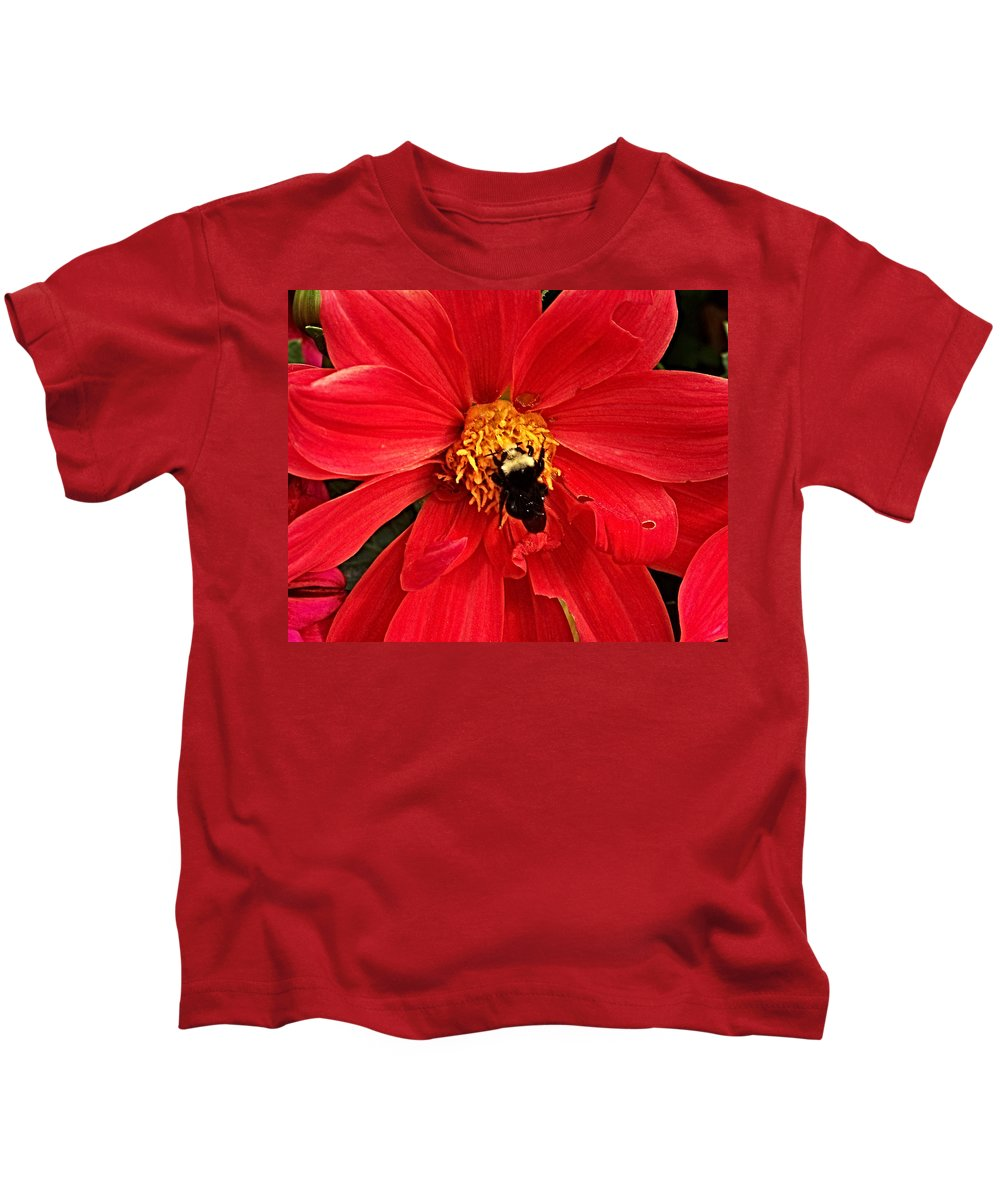Flower Kids T-Shirt featuring the photograph Red Flower And Bee by Anthony Jones