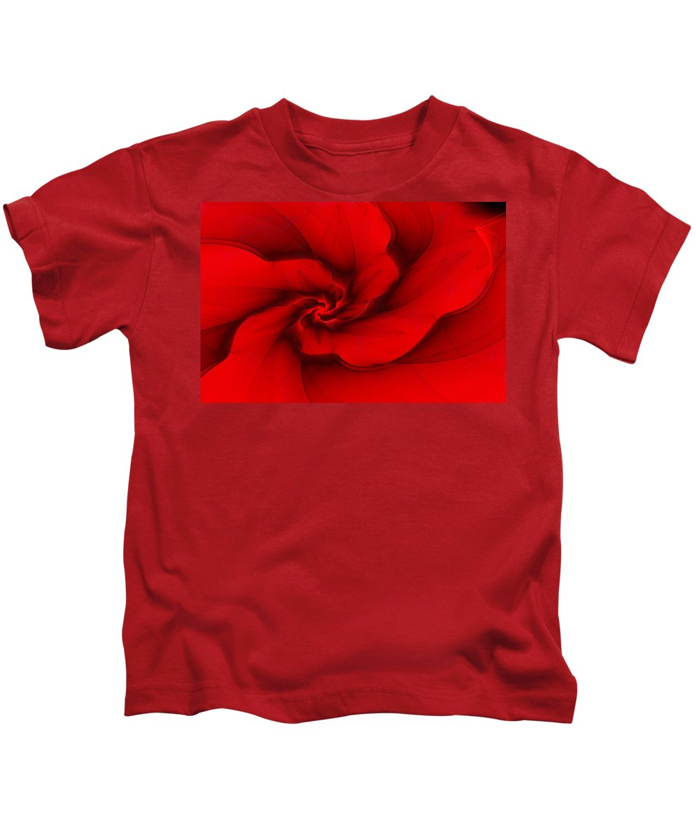 Fractal Kids T-Shirt featuring the digital art Red Fractal 080910 by David Lane