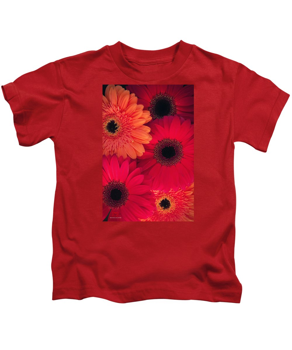 Red Kids T-Shirt featuring the photograph Red Gerbers by Shannon Gan Dathu