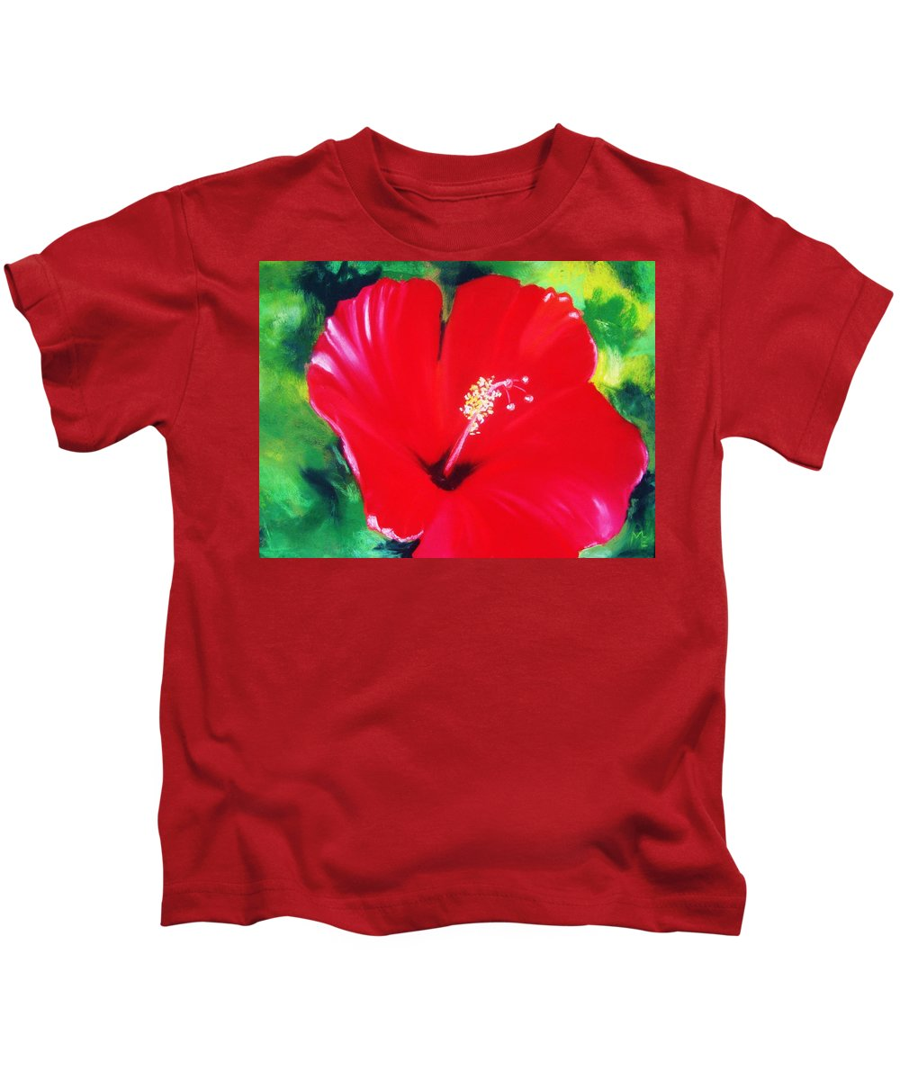 Bright Flower Kids T-Shirt featuring the painting Red Hibiscus by Melinda Etzold