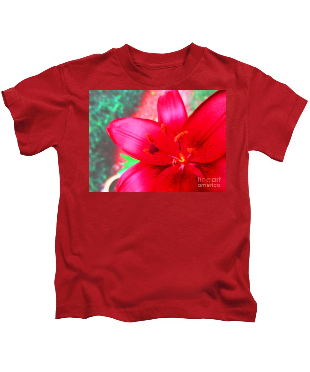 Lily Kids T-Shirt featuring the photograph Red Lily by Korynn Neil