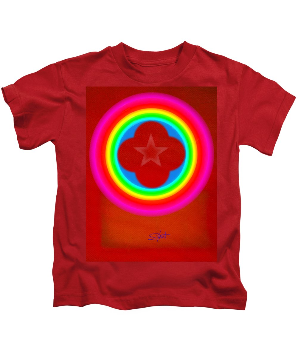 Landscape Kids T-Shirt featuring the painting Red Logo by Charles Stuart