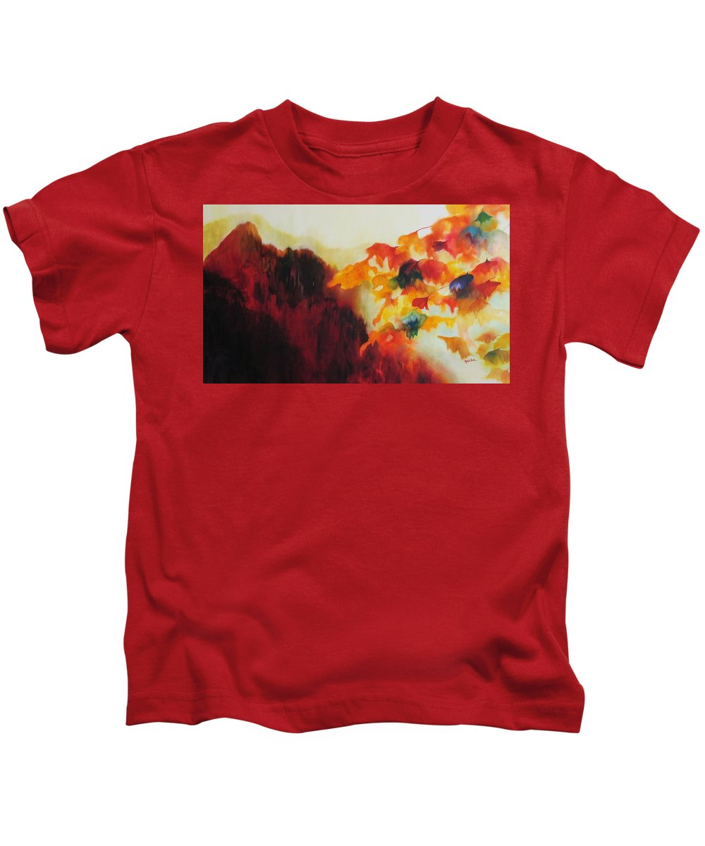 Landscape Kids T-Shirt featuring the painting Red Mountain by Peggy Guichu