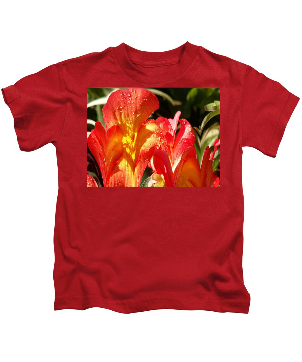Flowers Kids T-Shirt featuring the photograph Red N Yellow Flowers 2 by Tim Allen