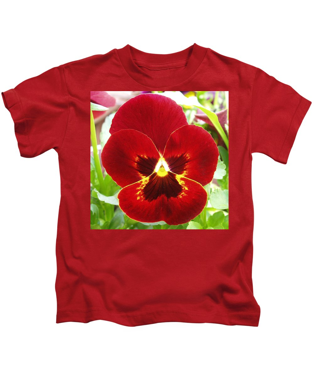 Red Kids T-Shirt featuring the photograph Red Pansy by Nancy Mueller