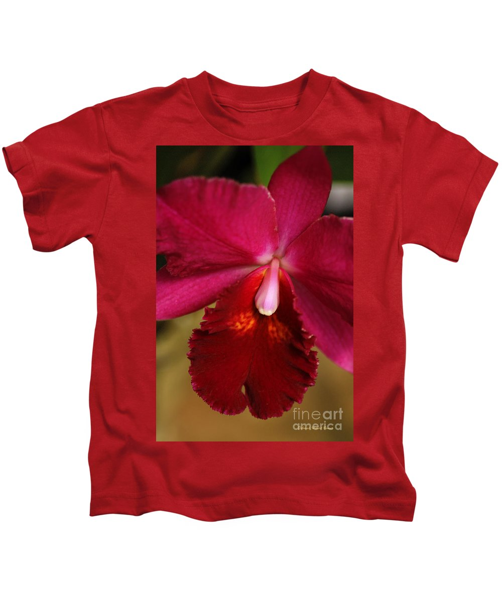 Flower Kids T-Shirt featuring the photograph Red Passion Orchid by Deborah Benoit