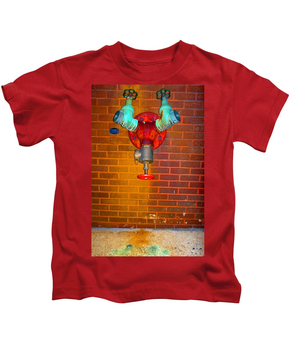 Photograph Kids T-Shirt featuring the photograph Red Pipe by Thomas Valentine