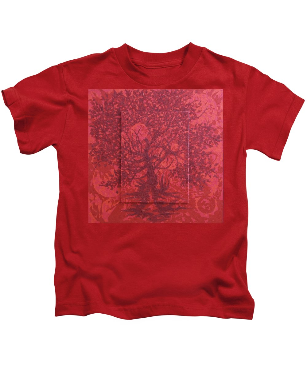 Red Kids T-Shirt featuring the painting Red Planet by Judy Henninger