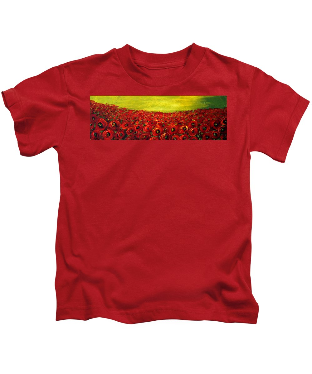 Flowers Kids T-Shirt featuring the painting Red Poppies Field by Luiza Vizoli