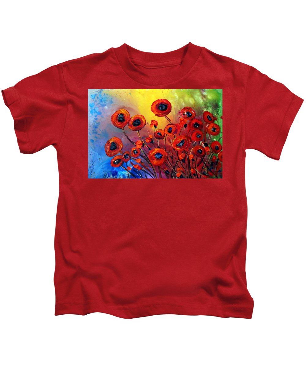 Flowers Kids T-Shirt featuring the painting Red Poppies In Rain by Luiza Vizoli