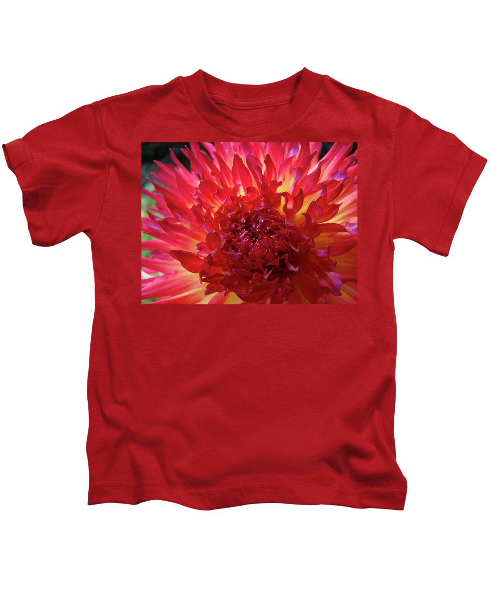 Dahlia Kids T-Shirt featuring the photograph Red Purple Dahlia Flower Summer Dahlia Garden Baslee Troutman by Baslee Troutman