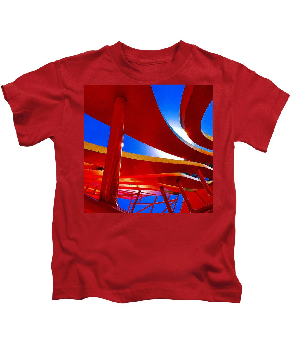 Kids T-Shirt featuring the photograph Red Ride Blue Sky by Daved Thom