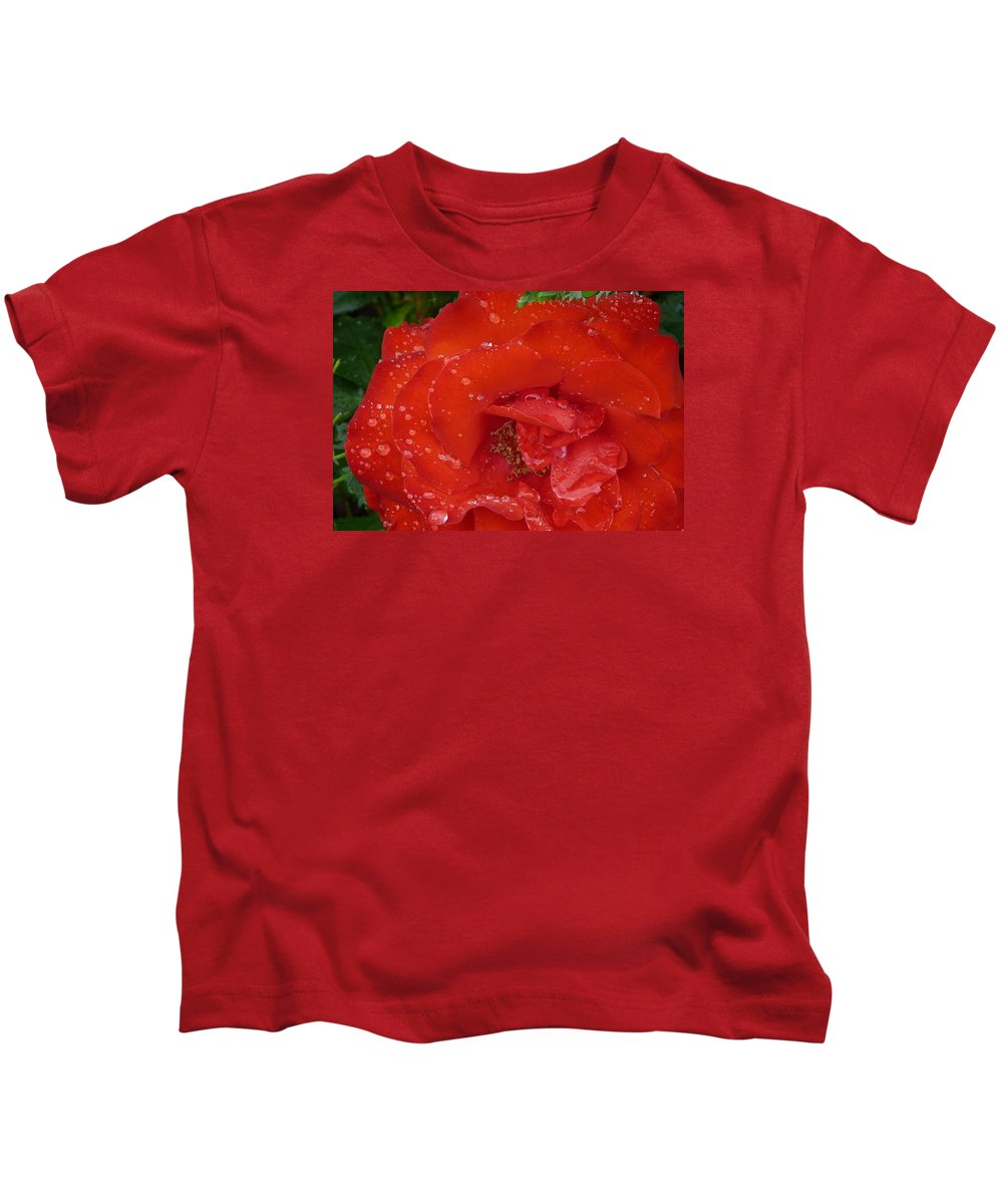 Rose Kids T-Shirt featuring the photograph Red Rose After Rain by Valerie Ornstein