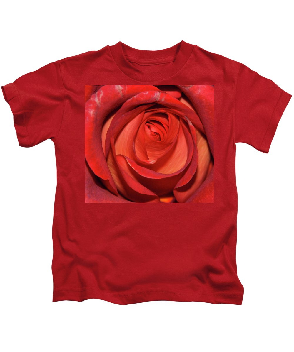 Macro Kids T-Shirt featuring the photograph Red Rose Up Close by Richard Bryce and Family
