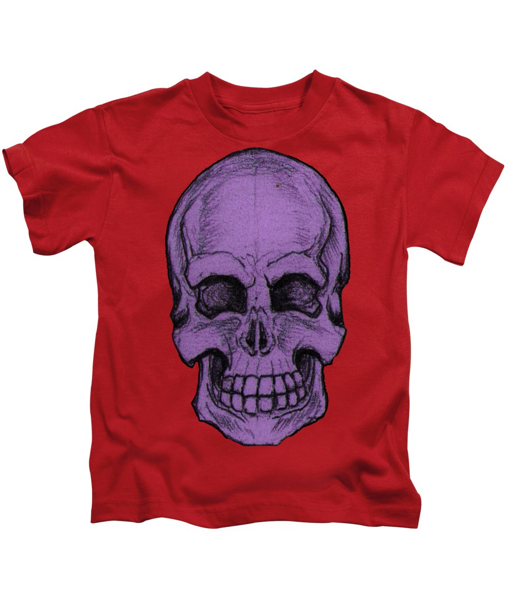 Skull Kids T-Shirt featuring the drawing Purple Skull by Nikolaos Chantzis