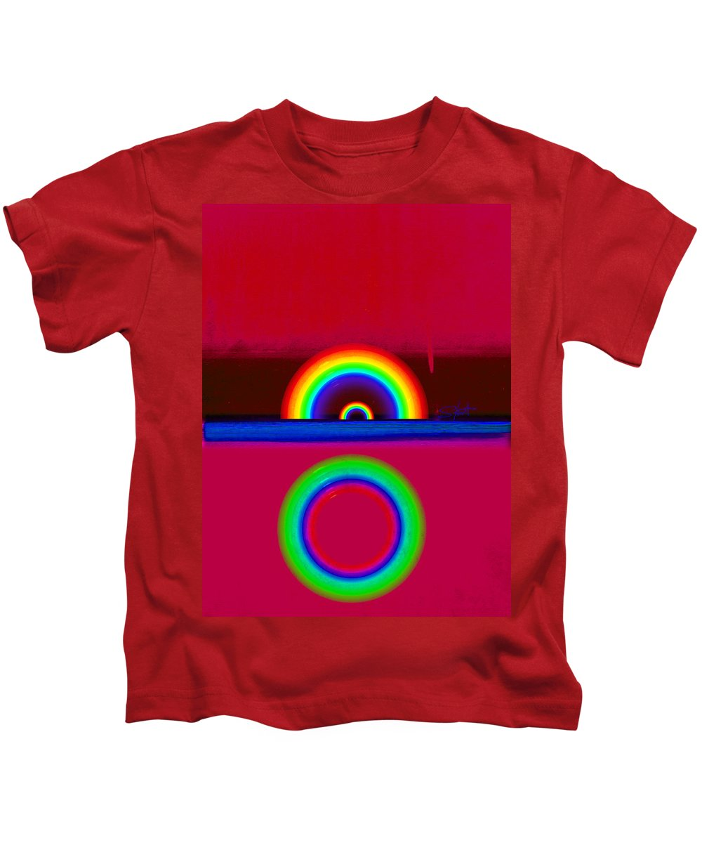 Red Kids T-Shirt featuring the painting Red Sunset by Charles Stuart