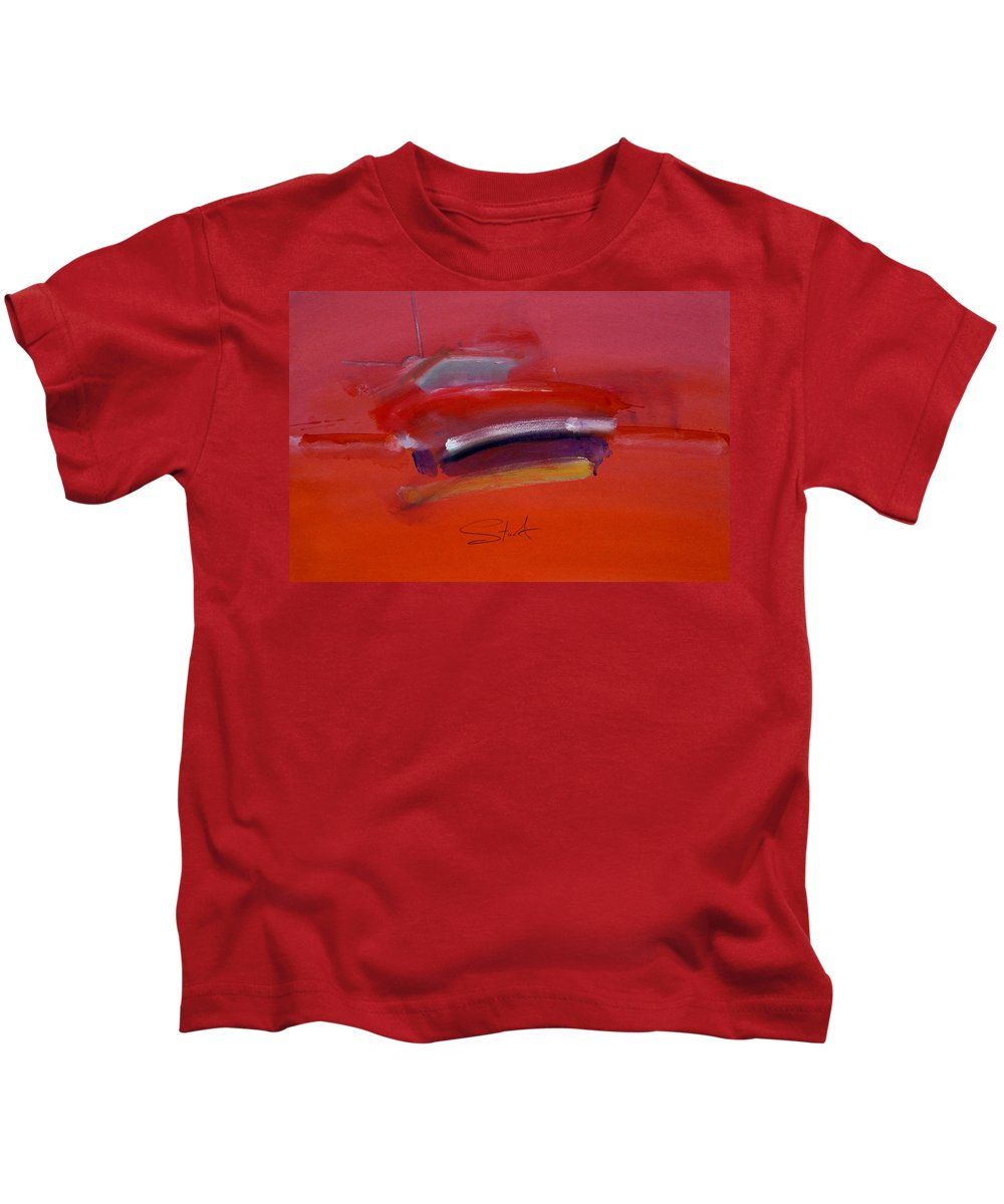 Fishing Boats Kids T-Shirt featuring the painting Red Trawler by Charles Stuart