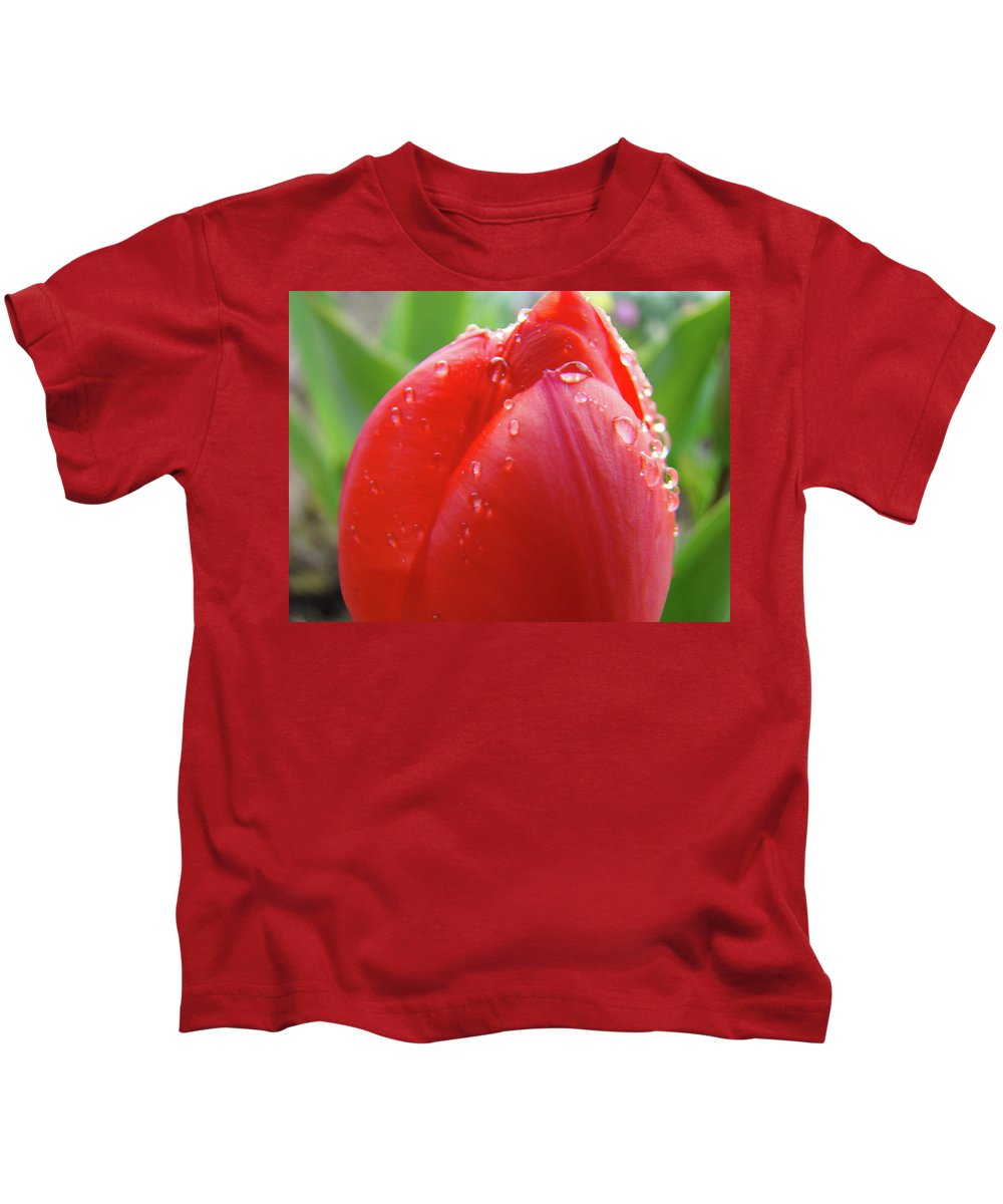 �tulips Artwork� Kids T-Shirt featuring the photograph Red Tulip Flower Macro Artwork 16 Floral Flowers Art Prints Spring Dew Drops Nature Art by Baslee Troutman