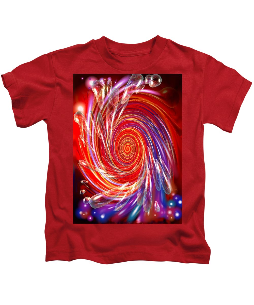 Red Kids T-Shirt featuring the digital art Red Twirl by Natalie Holland