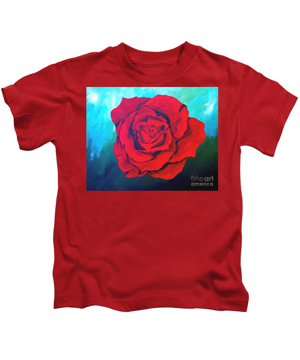 Red Rose Deep Red Rose 3d Ice Rose Kids T-Shirt featuring the painting Red Velvet by Herschel Fall