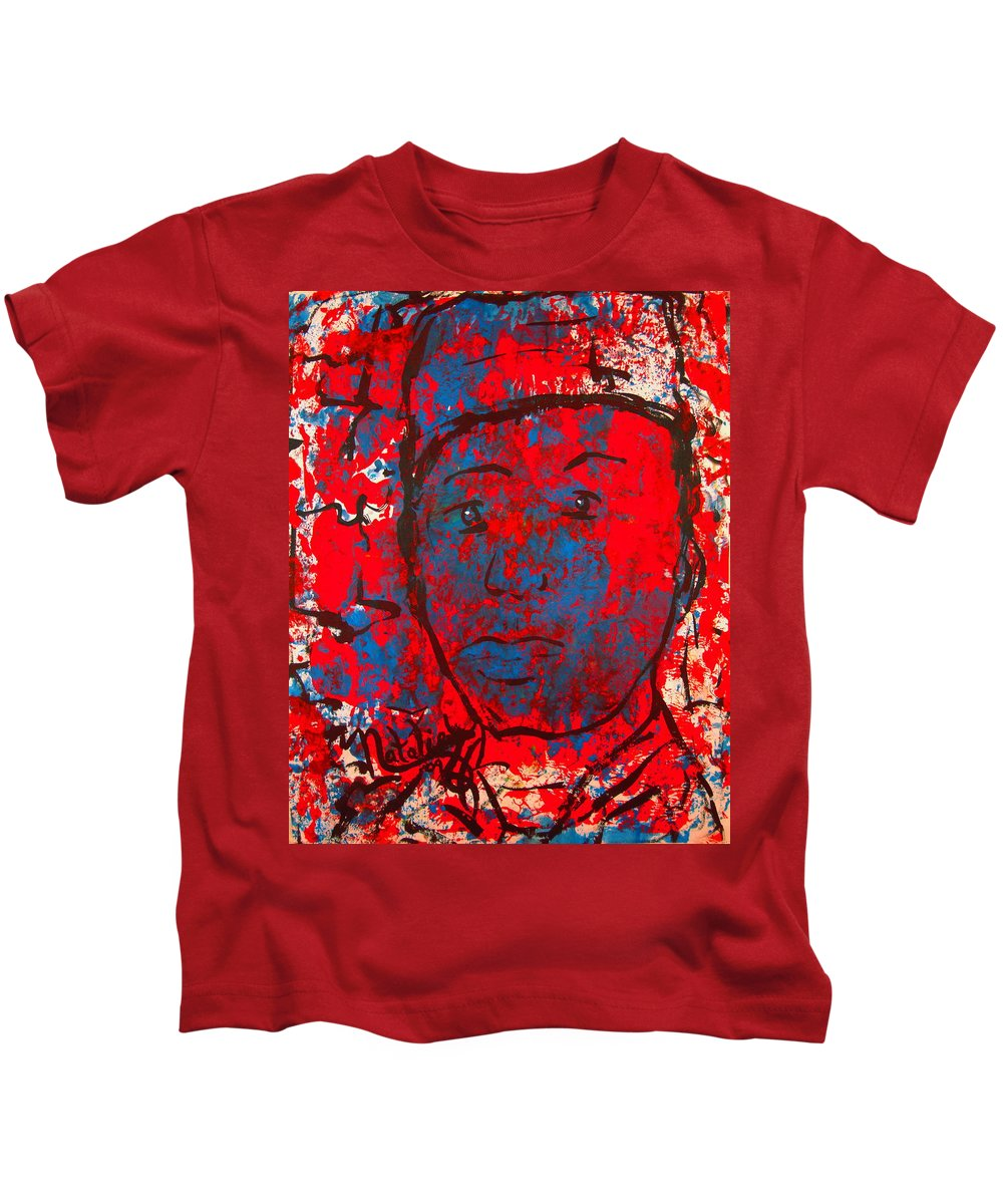Man Kids T-Shirt featuring the painting Red White And Blue by Natalie Holland