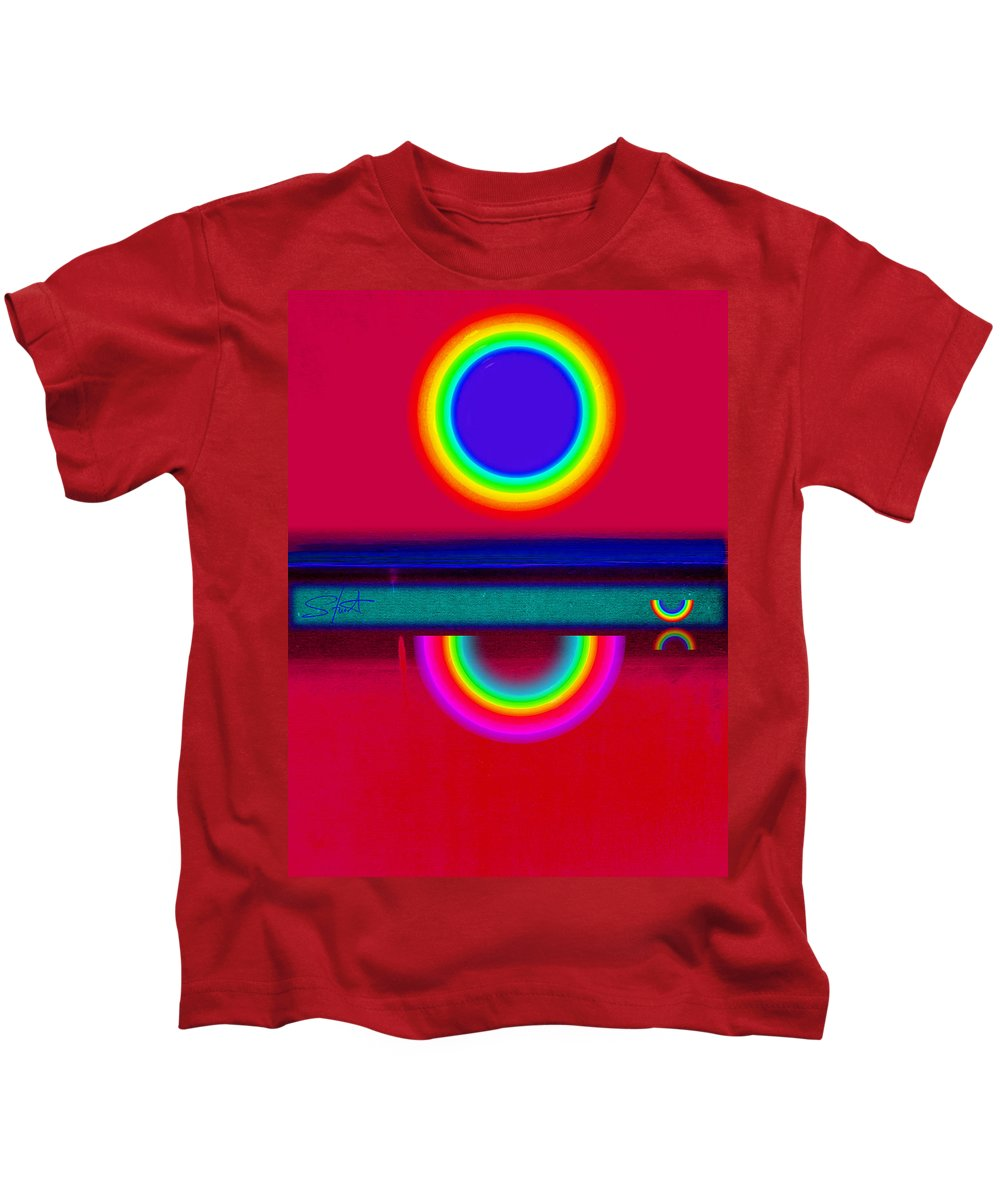 Reflections Kids T-Shirt featuring the painting Reflectins On A Sunset by Charles Stuart