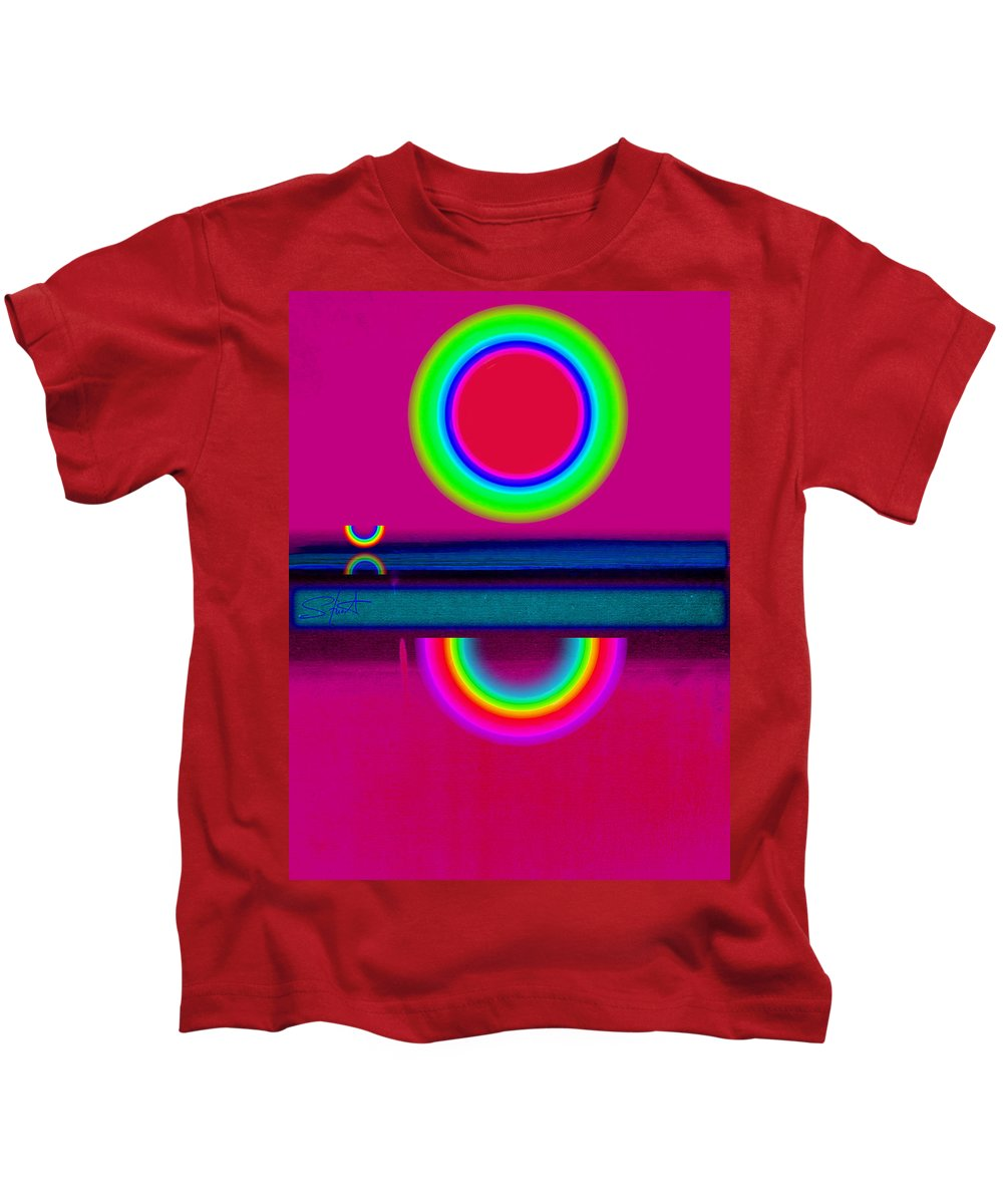 Reflections Kids T-Shirt featuring the painting Reflections On A Glass Lake by Charles Stuart