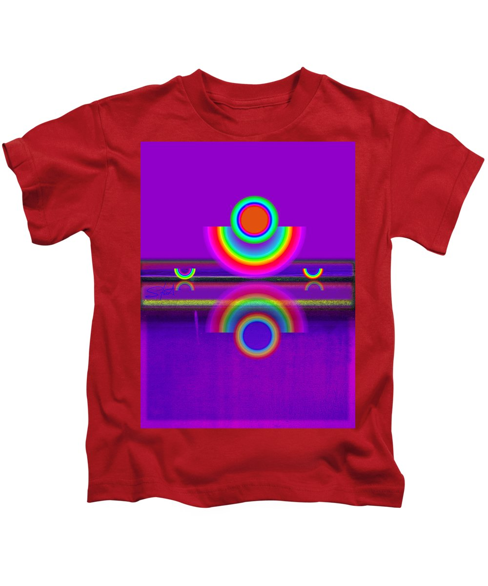 Reflections Kids T-Shirt featuring the painting Reflections On Violet by Charles Stuart