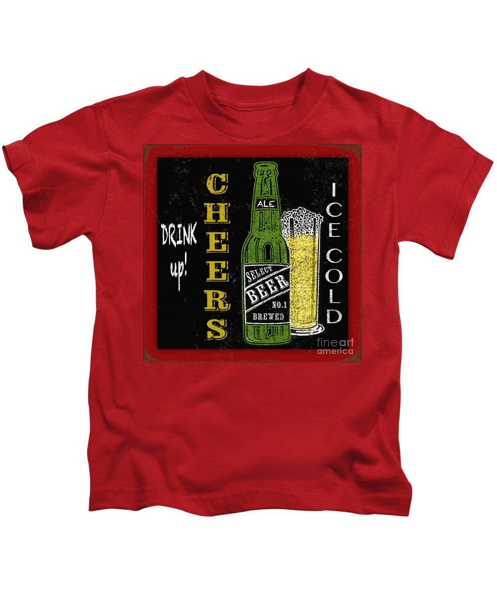 Jean Plout Kids T-Shirt featuring the painting Retro Beer Sign-jp2915 by Jean Plout