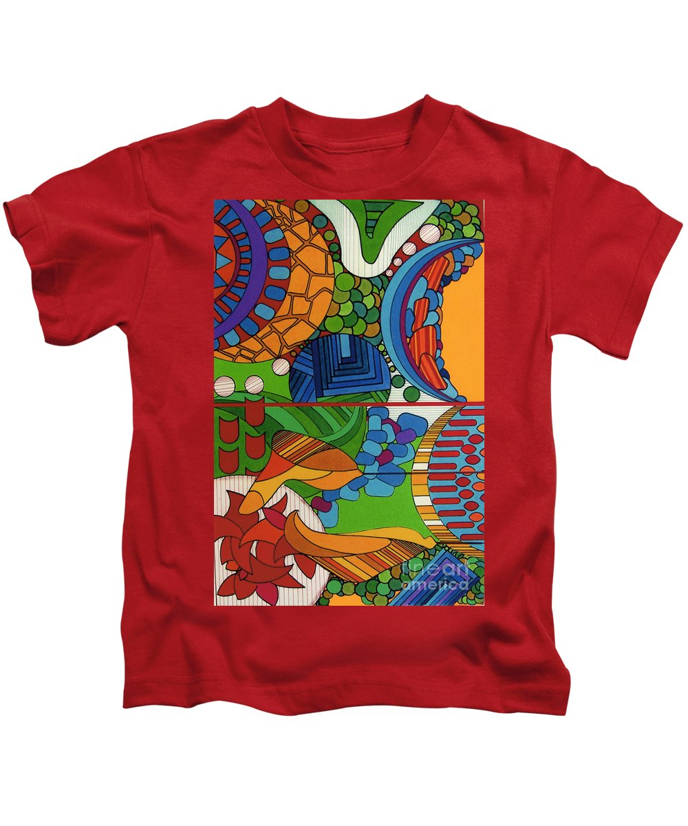 Sky High Kids T-Shirt featuring the drawing Rfb0515 by Robert F Battles