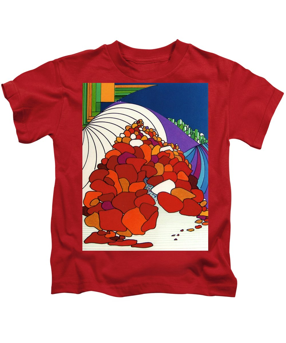Boulders Kids T-Shirt featuring the drawing Rfb0525 by Robert F Battles
