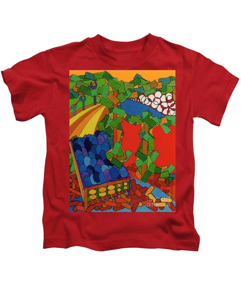 Blueberry Trail Kids T-Shirt featuring the drawing Rfb0533 by Robert F Battles