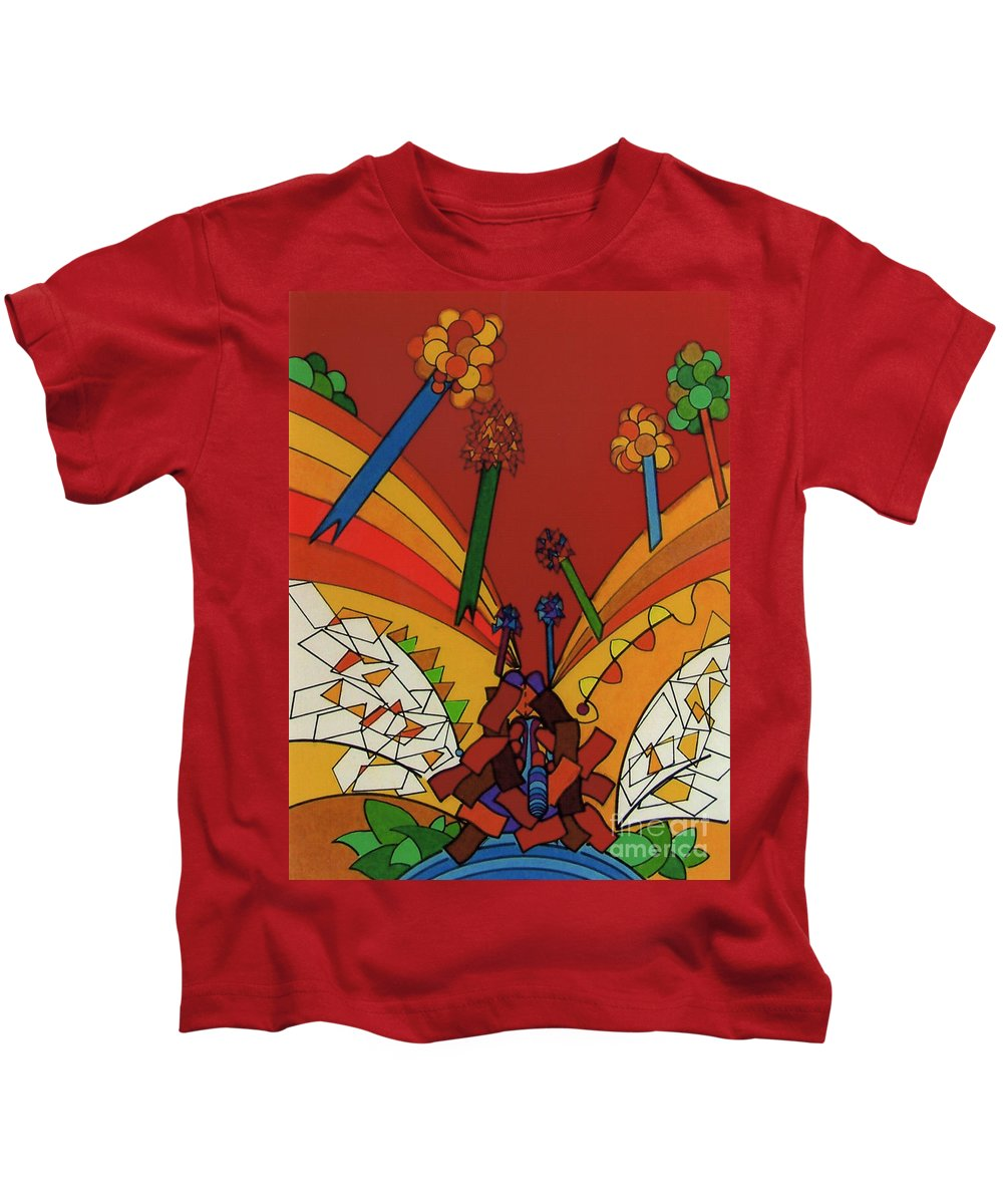 Red Valley Kids T-Shirt featuring the drawing Rfb0535 by Robert F Battles