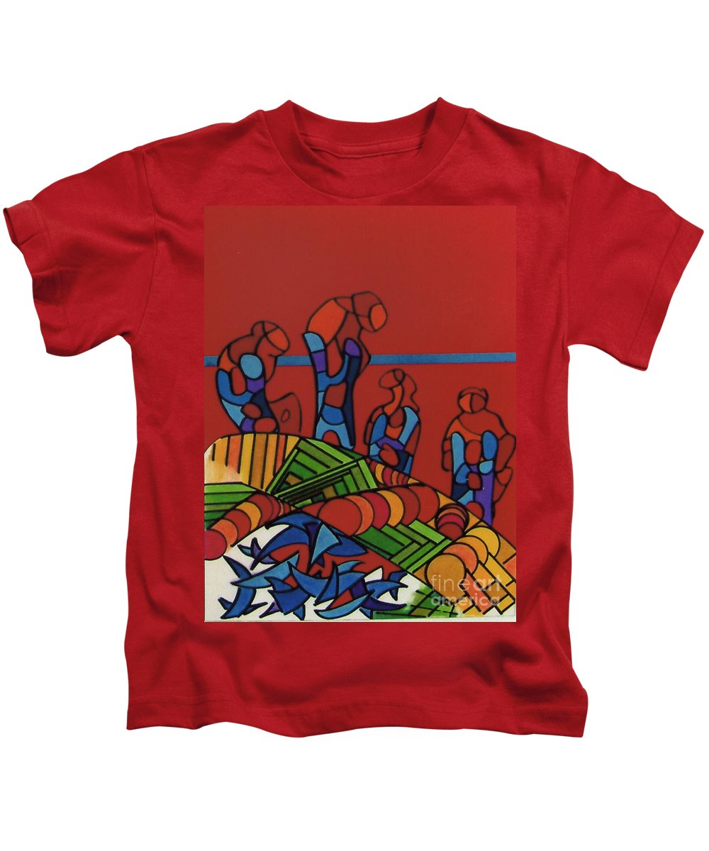 Red Wonderers Kids T-Shirt featuring the drawing Rfb0546 by Robert F Battles