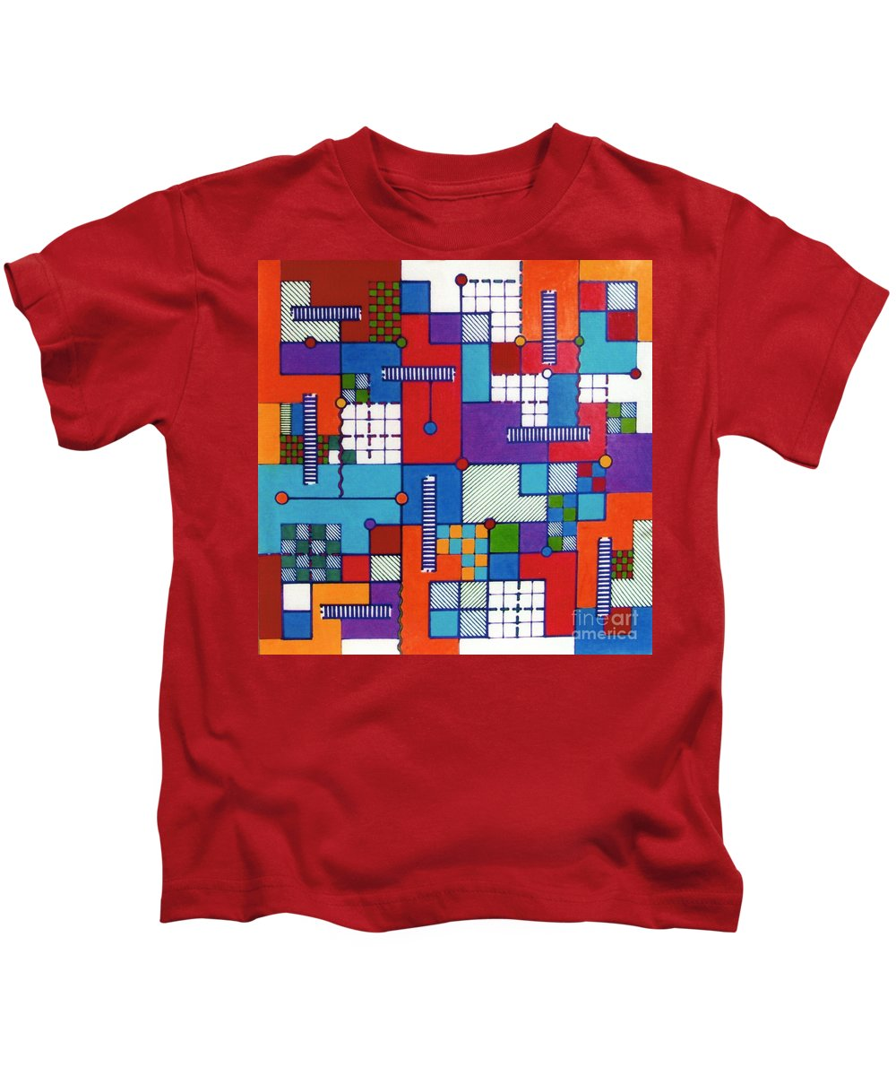 Puzzled Kids T-Shirt featuring the drawing Rfb0565 by Robert F Battles