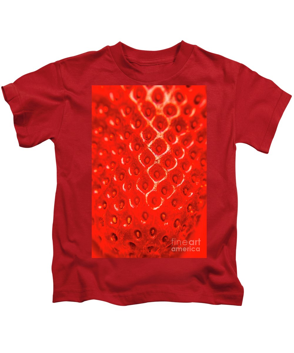 Strawberry Kids T-Shirt featuring the photograph Ripe Red Fresh Strawberry Texture And Detail by Jorgo Photography - Wall Art Gallery