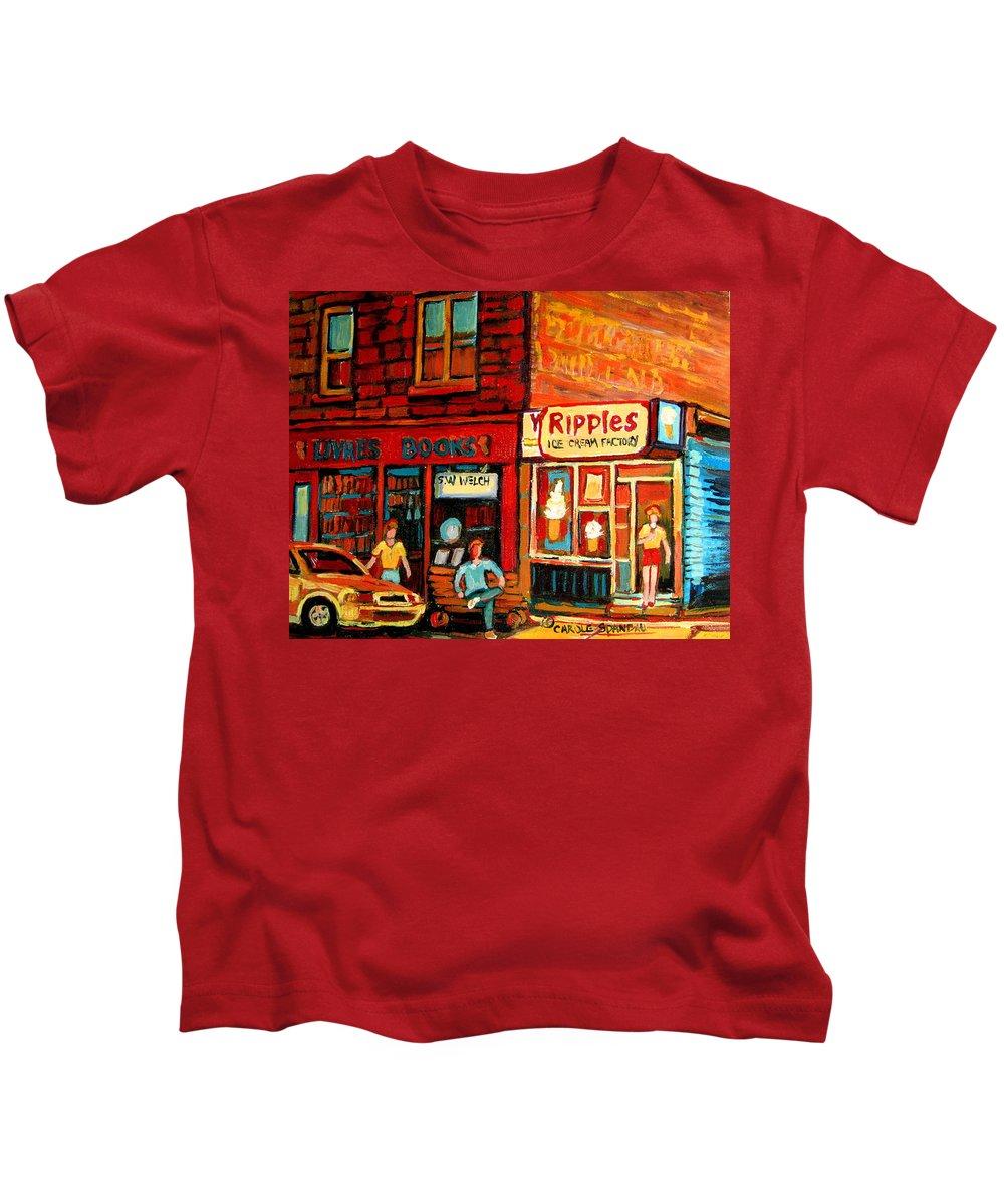 Ripples Icecream Factory Kids T-Shirt featuring the painting Ripples Ice Cream Factory by Carole Spandau