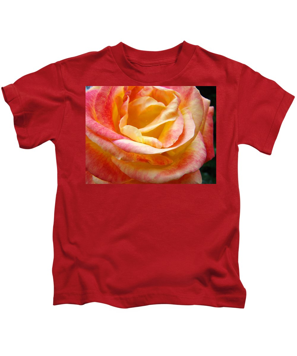 Rose Kids T-Shirt featuring the photograph Rose Art Pink Yellow Summer Rose Floral Baslee Troutman by Baslee Troutman