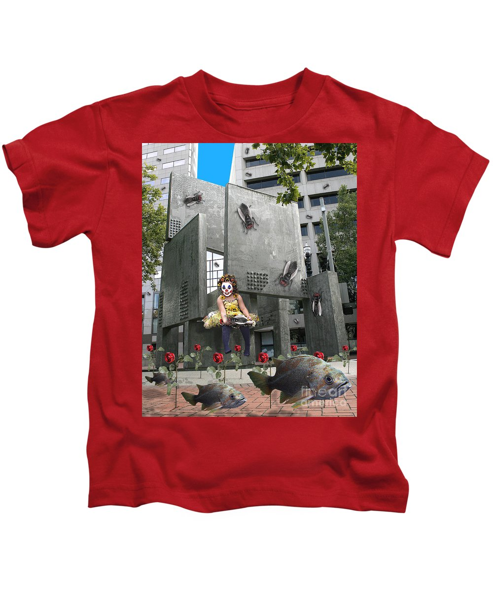 Girl Kids T-Shirt featuring the digital art Rose City by Keith Dillon