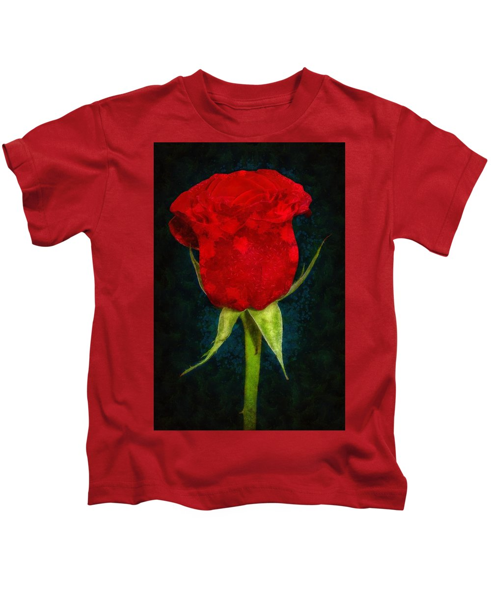 Red Kids T-Shirt featuring the painting Rose - Id 16236-105012-4033 by S Lurk