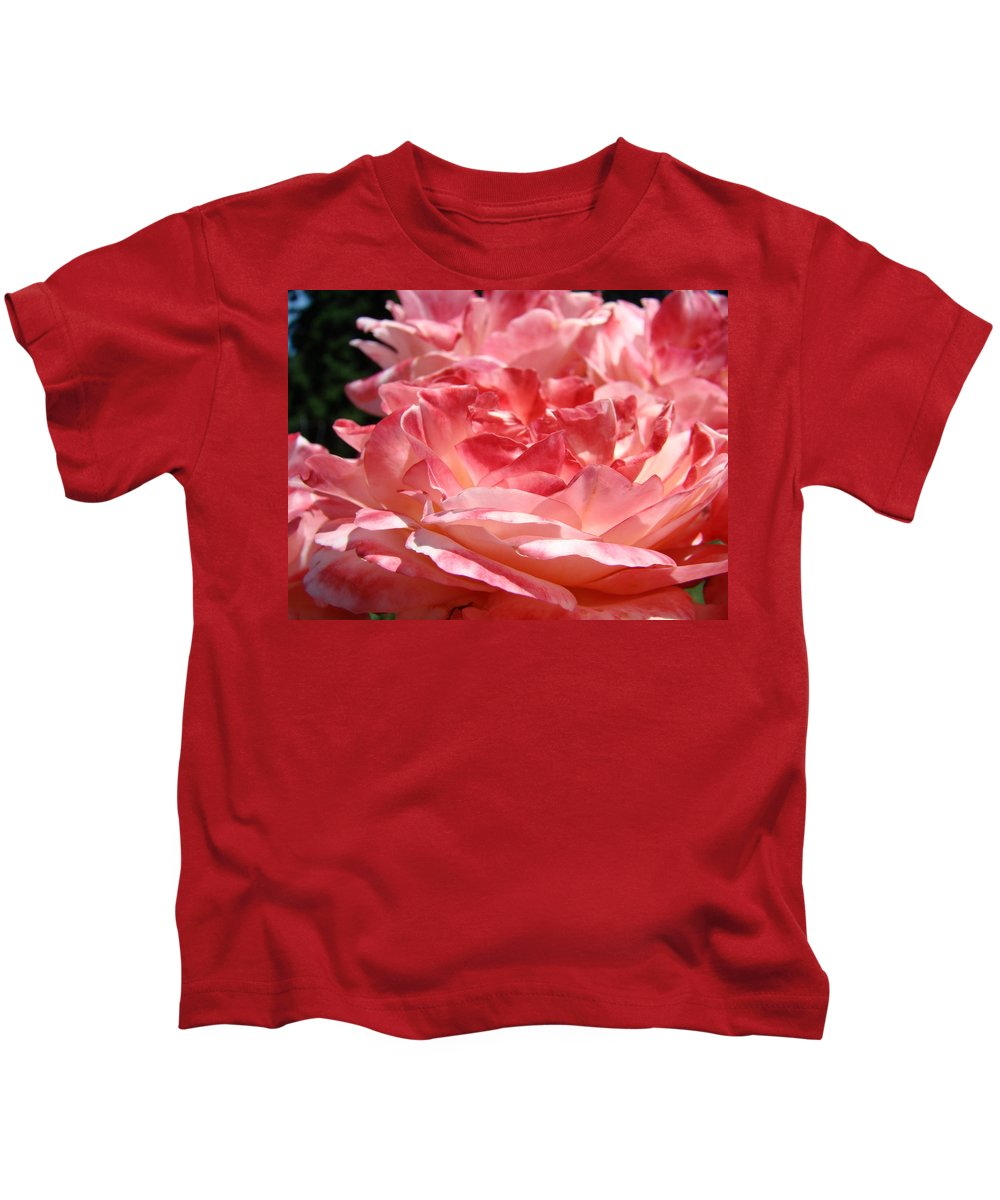 Rose Kids T-Shirt featuring the photograph Roses Cinnamon Pink Rose Flowers 3 Rose Garden Art Baslee Troutman by Baslee Troutman