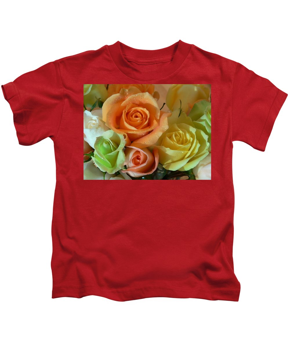 New England Photos Kids T-Shirt featuring the photograph Roses In Pastel by Nancie DeMellia