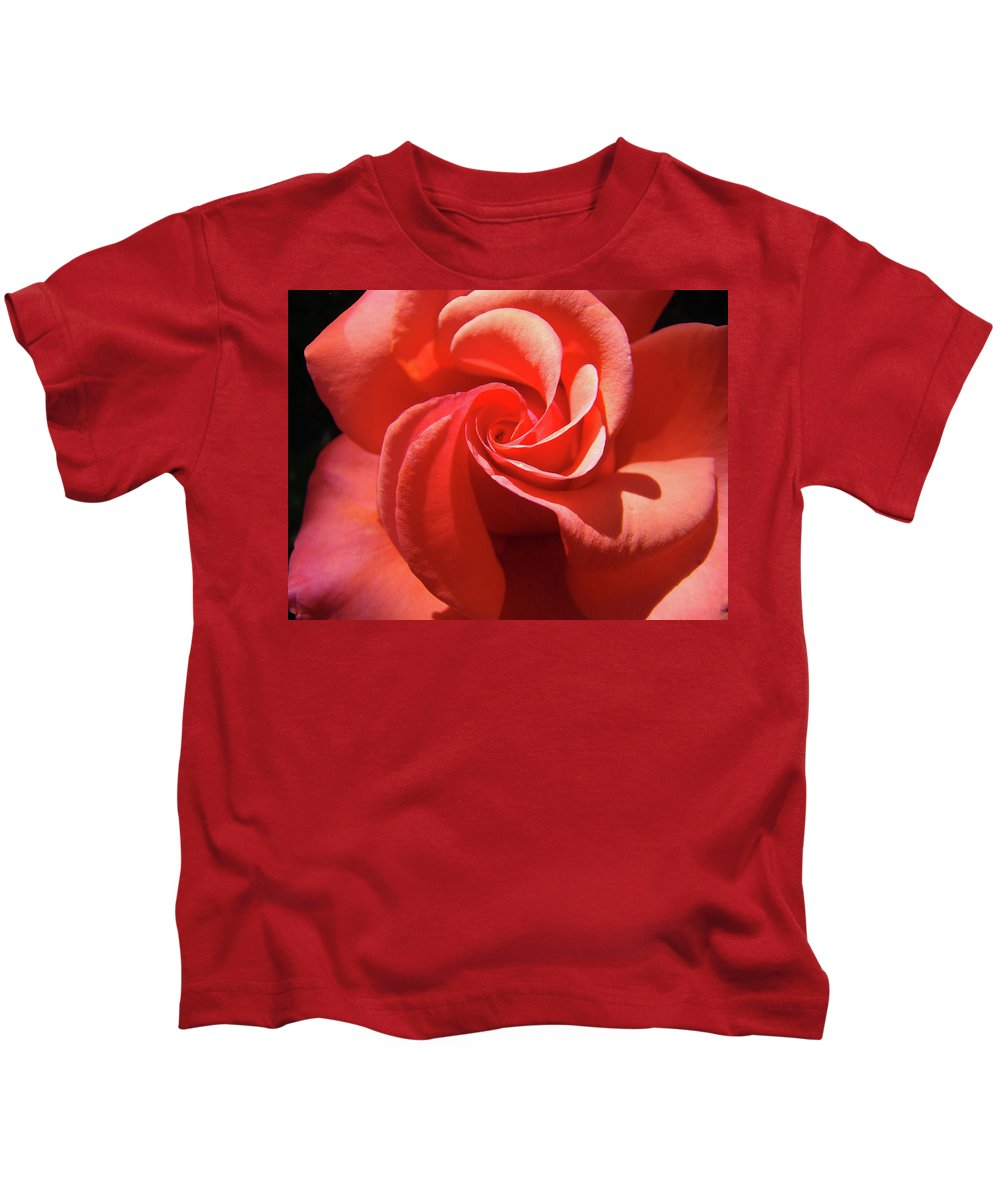 Rose Kids T-Shirt featuring the photograph Roses Orange Rose Flower Spiral Artwork 4 Rose Garden Baslee Troutman by Baslee Troutman