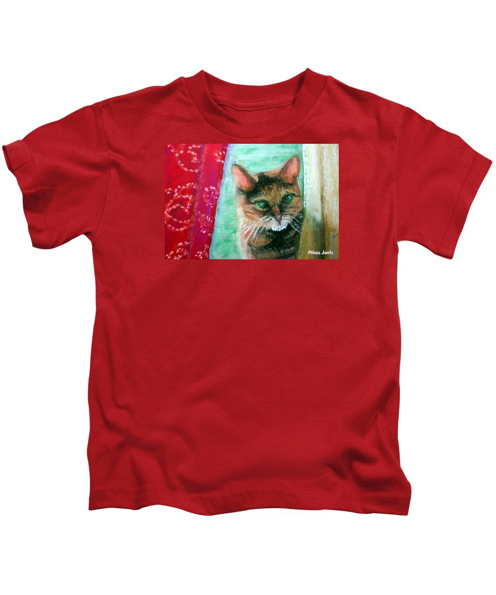 Cat Kids T-Shirt featuring the painting Rosy In Color by Minaz Jantz