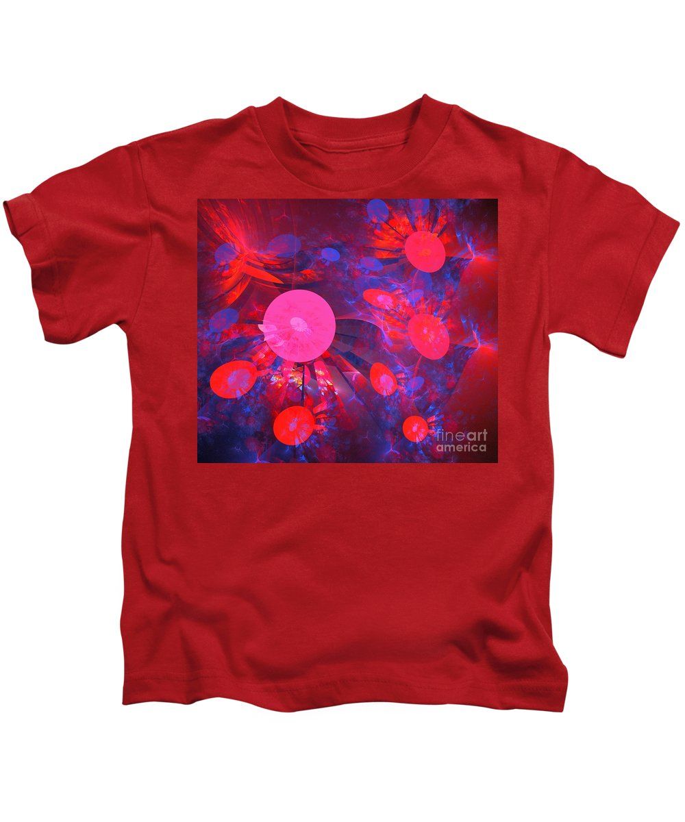 Apophysis Kids T-Shirt featuring the digital art Ruby Blue Rays by Kim Sy Ok