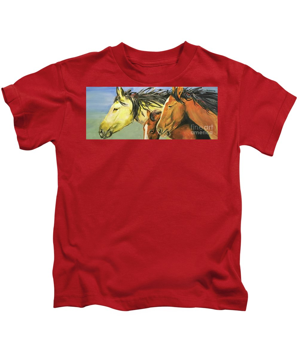 Horse Kids T-Shirt featuring the painting Run Free by Alan Metzger