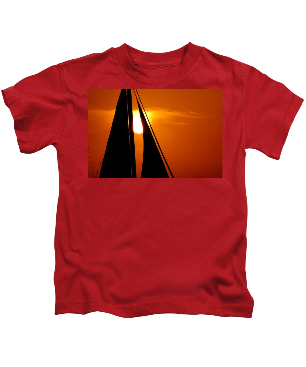 Photography Kids T-Shirt featuring the photograph Sailing Into The Sunset by Susanne Van Hulst